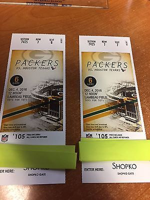 Green Bay Packers vs Houston Texans Tickets 12/04/16 (Green Bay)  http://dlvr.it/MmdGTppic.twitter.com/fHolukZ9CF