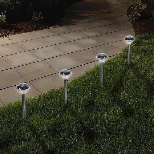 Solar Light Set Of 24 Pathway Patio Outdoor Diamond Shape Multi Directional LED…