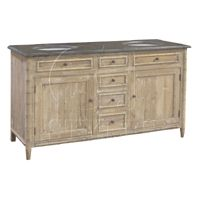 36X23X63 reclaimed pine blue stone top. in stock Double Vanity Washed. MSRP $3995. Contractor Price $1650