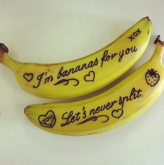 Adorable! !! Write on bananas, at first letters will be invisible,the writing will turn brown in time and show up :):
