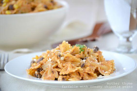 Farfalle with Creamy Chipotle Pesto, Black Beans and Corn