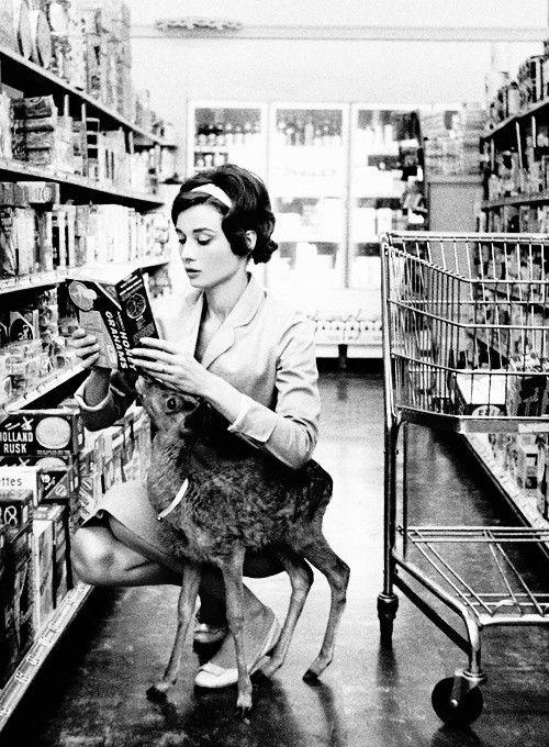Audrey Hepburn and her pet deer.