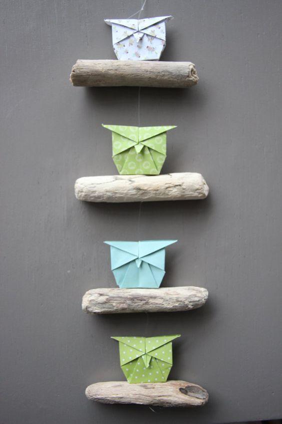 Mobile Bois flotté Origami hibou Chiyogami Decoration vert Bleu Decor plage Guirlande Owl