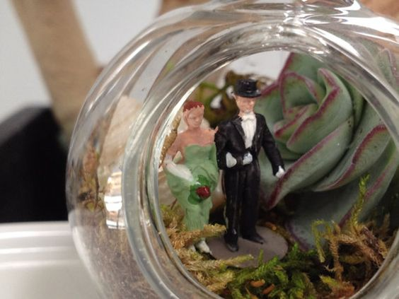 Bride and Groom Celebrate Inside a Terrarium by EdenCondensed. Great wedding favor/gift!