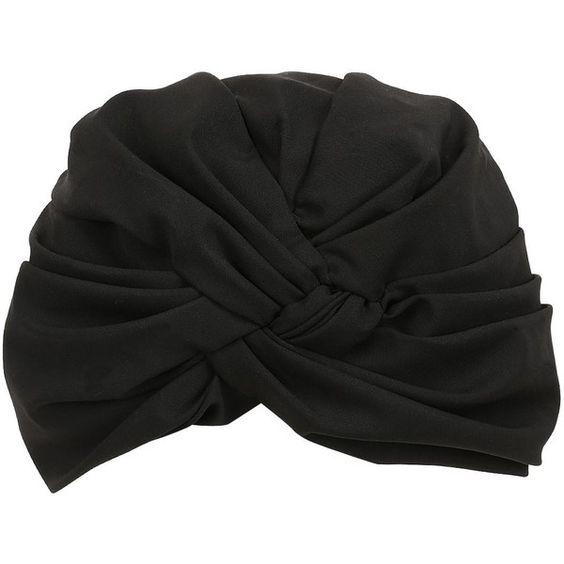 Alex Women Silk Blend Turban (€230) ❤ liked on Polyvore featuring accessories, hats, turban, headwear, black, turban hat and knot hat