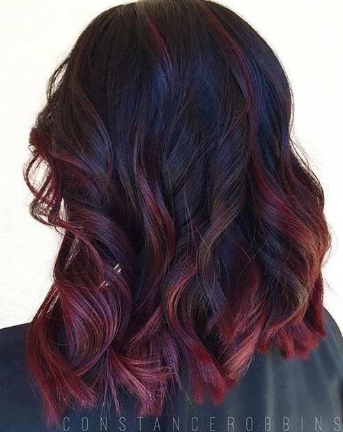 Lob hairstyle + Dark Red Highlights