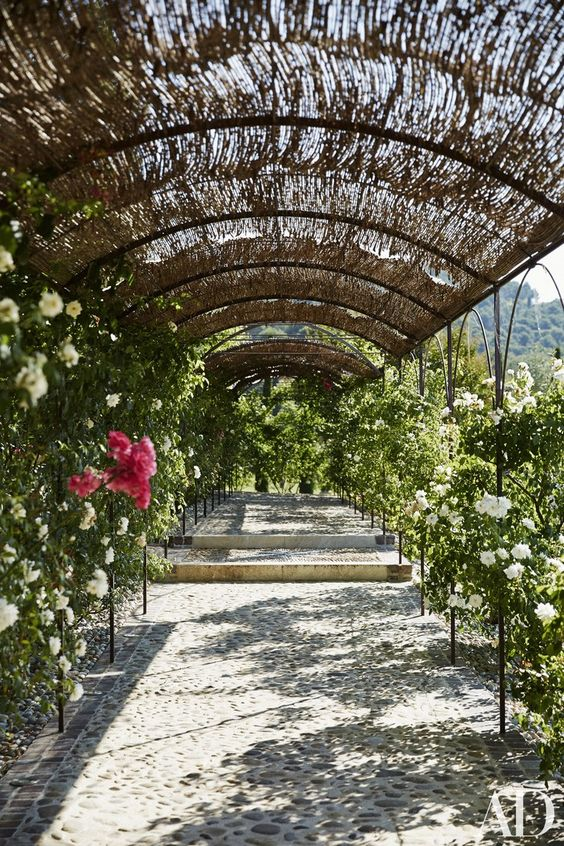 An arcade of trellised roses leads to the pool at a Provence estate of Frederick Fekkai. #trellis #garden #roses #provence
