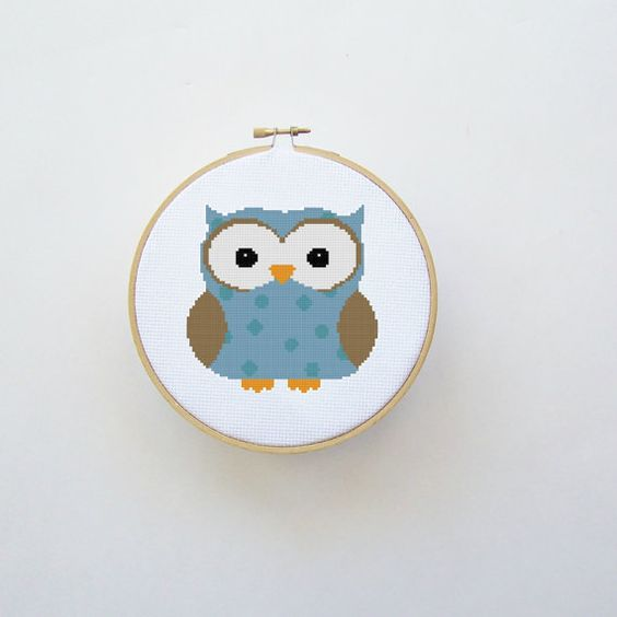 Owl Cross Stitch Pattern Blue  Digital File by threadsandthings1, $4.00