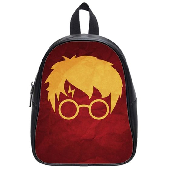 LaHuo Harry Fans Love Harry Potter Head Portraits Custom Design Primary Pupils' School Bag School Children Backpack (Large) Black