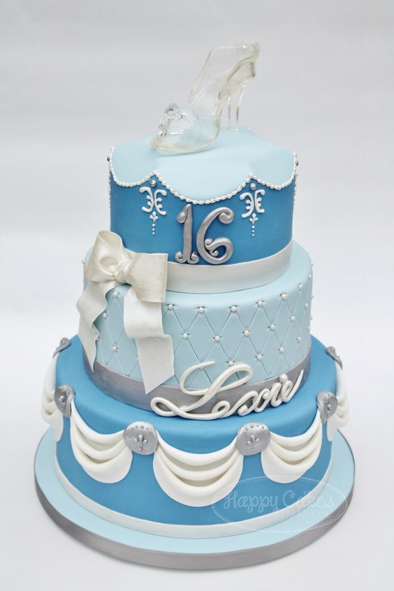 """Cinderella Sweet 16 Cake! - I was going for a more grown up and elegant vision of a Cinderella cake.  I didn't want it to look like a """"Disney Princess"""" Cinderella cake, I wanted it to be fitting of a young lady turning 16.  Her party was """"Cinderella's Ball"""" theme, and the cake fit right in!  The shape/piping on the top tier was inspired by a beautiful Cinderella wedding cake I saw on carriescakes.com"""