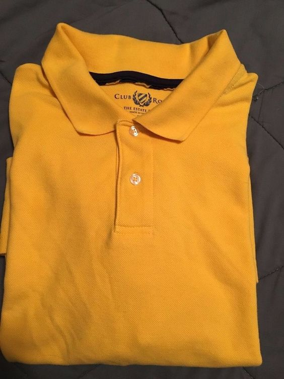 Men's CLUB ROOM The Estates Polo Golf Shirt - Bright Yellow Textured - Size XL #ClubRoom #PoloRugby
