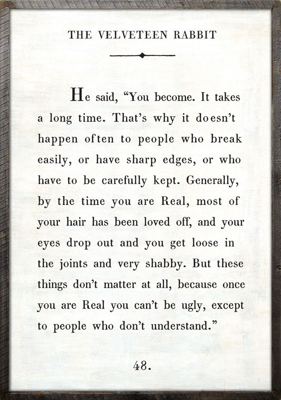 Velveteen Rabbit quote for the nursery or kids room!: