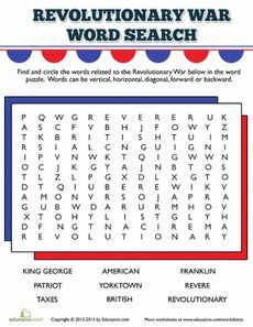 Printables Revolutionary War Worksheets revolutionary war word search words and worksheet