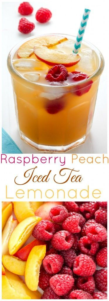 Raspberry Peach Iced Tea Lemonade - Sweet peach puree, red raspberries, black tea, and fresh squeezed lemonade all mixed up in one cold, cool, and utterly refreshing Summertime beverage.