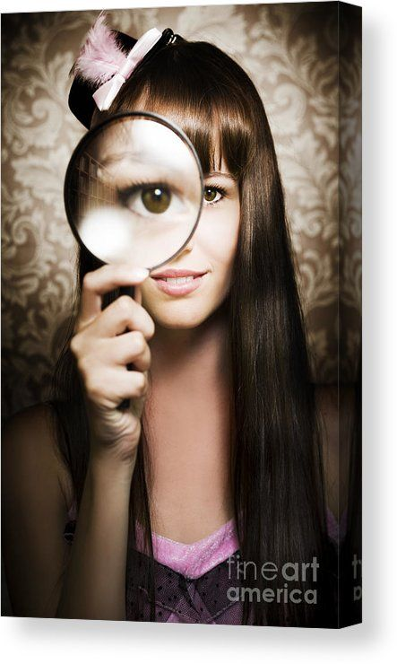Spy Girl Canvas Print featuring the photograph Beautiful Female Watching Through Magnifying Glass by Ryan Jorgensen