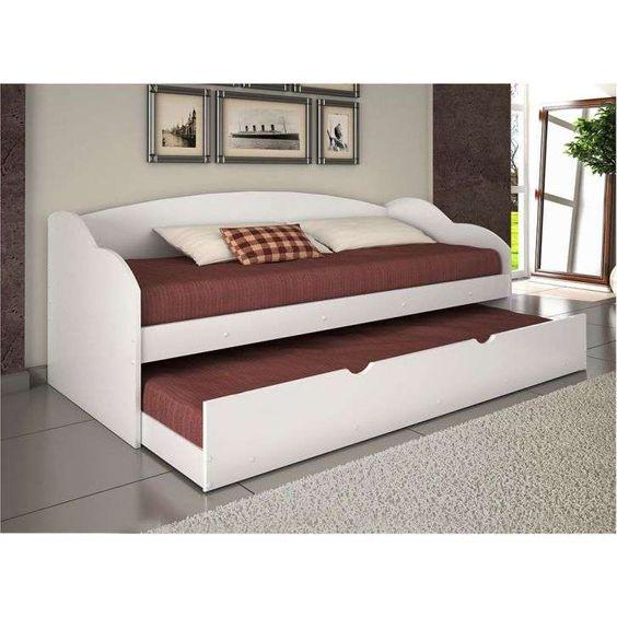 sofa-cama branco com encosto