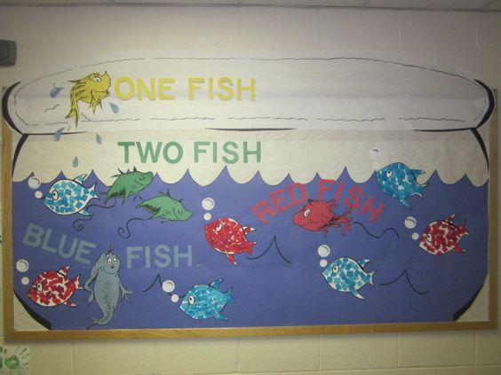 Fish bulletin boards 1 fish 2 fish and box tops on pinterest for Fish bulletin board