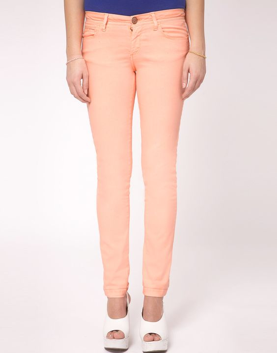fluro orange skinny jean / river island