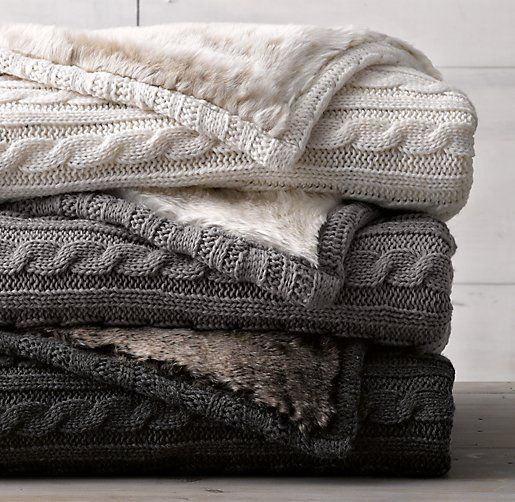 This blanket is sort of like an afghan (but made by machine) and lined with some soft fur. This provides a warm blanket that you can use on a bed or as a type of throw blanket.