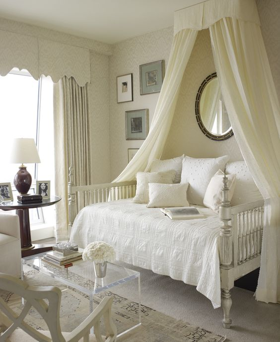 Beautiful #daybed #canopy, white, ivory, cream. Very restful.