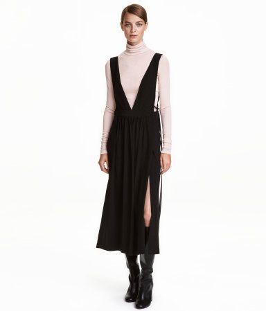 Kleid mit V-Ausschnitt | Schwarz | Damen | H&M DE