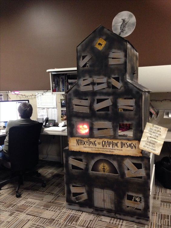 Decorating Ideas > FINAL LOOK Haunted House For My Boss Deskcubicle, Reach  ~ 103118_Halloween Decorating Cubicle Ideas