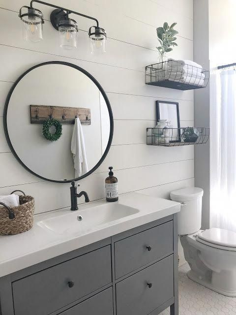 New Bathroom Ideas Black And White Striped Bathroom Accessories Yellow And Gray Bathro Modern Farmhouse Bathroom Farmhouse Bathroom Decor Bathroom Makeover