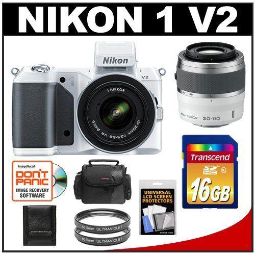 Nikon 1 V2 Digital Camera Body with 10-30mm VR Lens (White) with 30-110mm VR Lens + 16GB Card + Case + 2 Filters + Accessory Kit by Nikon. $999.95. Kit includes:♦ 1) Nikon 1 V2 Digital Camera Body with 10-30mm VR Lens (White)♦ 2) Nikon 1 30-110mm f/3.8-5.6 VR Nikkor Lens (White)♦ 3) Transcend 16GB SecureDigital Class 10 (SDHC) Ultra-High-Speed Card♦ 4) Sunpak 40.5mm UV Ultraviolet Glass Filter♦ 5) Additional Sunpak 40.5mm UV Ultraviolet Glass Filter♦ 6) P...