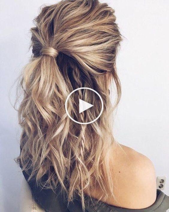35 Belle Simple Demi Moitie Vers Le Bas Coiffures Pour Votre Apparence Parfaite Et Tous Les Jours Style De Cheveux Cheveux Mi Long Coiffure