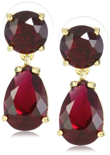"Kate Spade New York ""Essentials"" Ruby Colored Double Drop Earrings: Jewelry: Amazon.com; $58"
