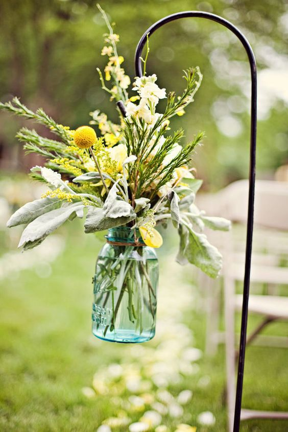 Mason jar flower arrangements.