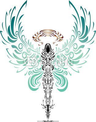 Tattoo-Charakter von Engel und Teufel Armdrücken