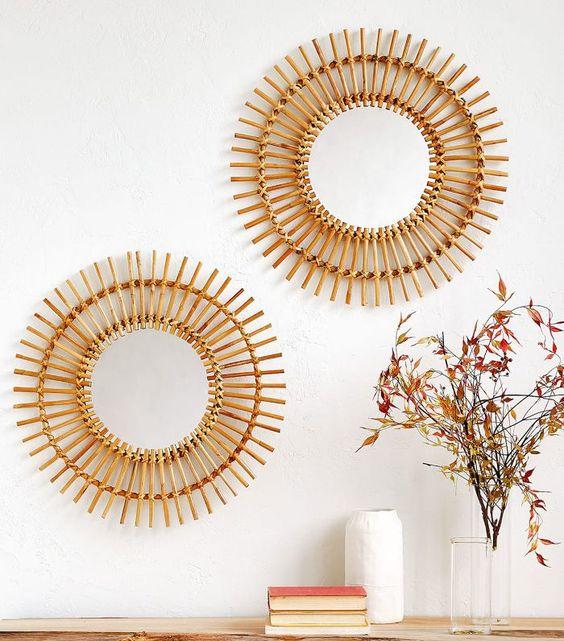 Zara Home Round Bamboo Mirror