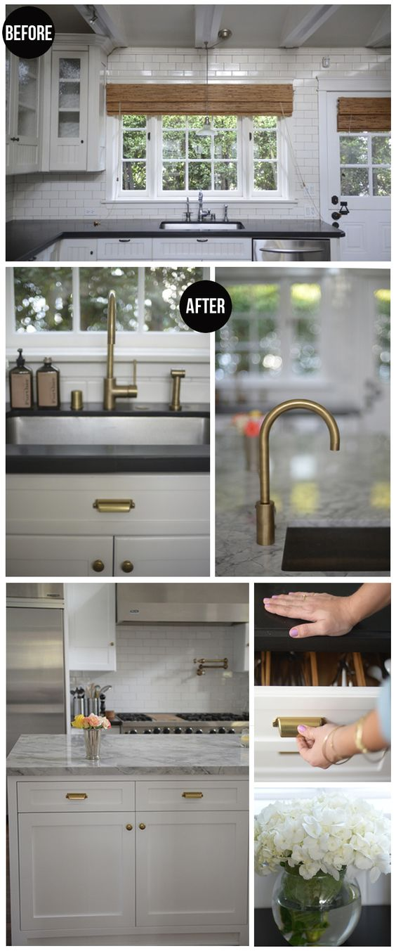Hardware Kitchen Pinterest Brass Faucet Cabinets