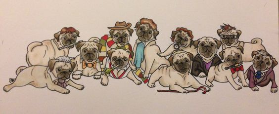 Doctor Who Pugs by Jeffica Alice