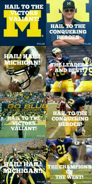 Hail to the victors valiant Hail to the conquering heroes Hail! Hail! Michigan…