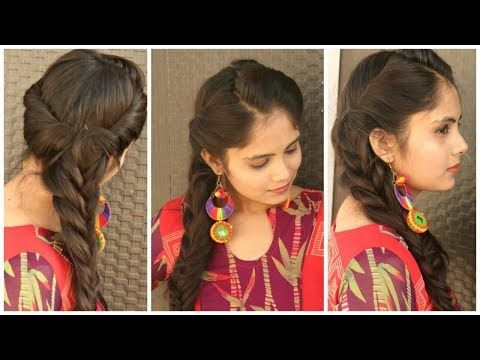 Indian Festival Hairstyle Rolled Up Fishtail Braid Hairstyle For Long Hair Youtube Fishtail Braid Hairstyles Hair Styles Braids For Long Hair