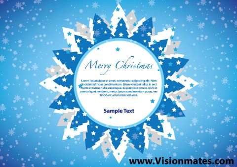 Circle banner with Christmas trees around it. Great Merry Christmas banner design with blue snowy background and a lot of winter trees. Merry Christmas 2013 premium vector design in Adobe Illustrator