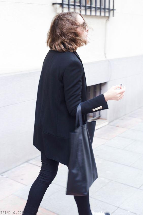 Trini   The Kooples black coat Acne Studios jeans Céline cabas bag