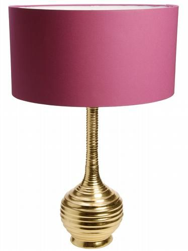 HomeSense Gold Lamp Base With Pink Shade Bedside Lamp