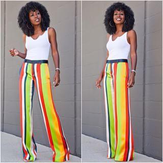 Folake Huntoon @stylepantry Trimmed Tank x Striped Silk Pants.