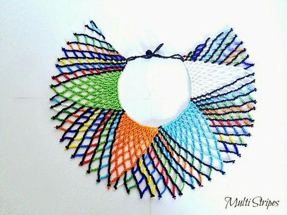 Jewelry. Statement jewelry, beaded Necklace. Handmade jewelry. South African Zulu Necklace. Www.femmesroyales.com