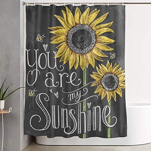 You Are My Sunshine Sunflower Bathroom Shower Curtain Chalk Sign