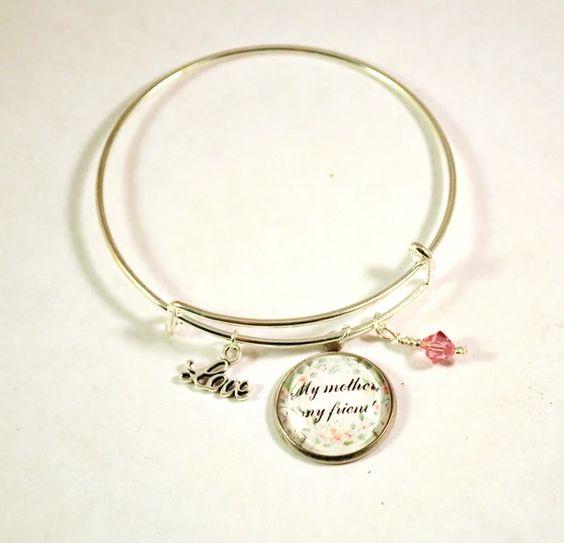 Mother Friend Charm Bangle Bracelets for Women, Adjustable 6-8 – BlueMorningExpressions