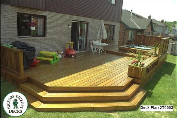 Large low 2 level spa deck with privacy screen benches for Privacy planters for decks