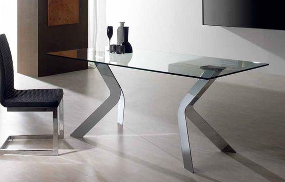 Mesa comedor Medidas: 150 ó 180 ó 200 cm x 90 x 76 cm Cristal templado en negro o transparente y patas metálicas acabado cromo, blancas o negras.