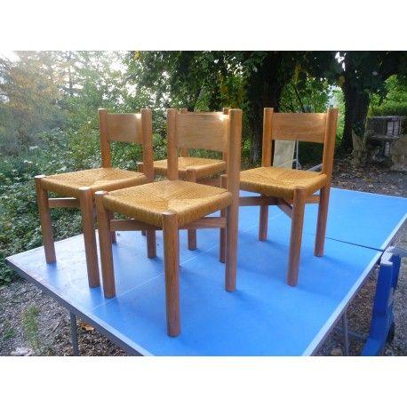 """Ensemble de 4 """"Meribél"""" des chaises par Charlotte Perriand, années 1950  kobho.com"""