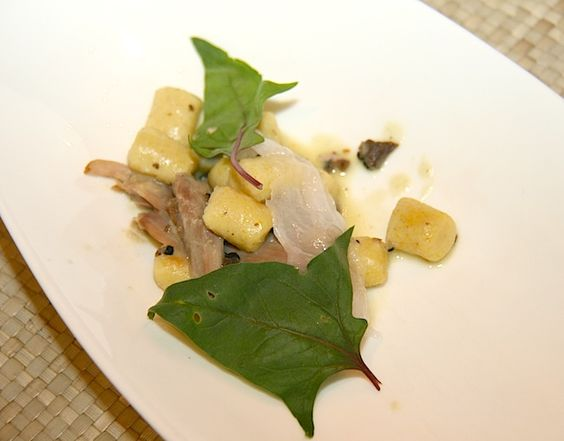 Food Photo: Corn Gnocchi with Duck Confit and Bordeaux Spinach - Clifton Inn