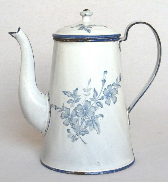 Antique French Enameled Coffee Pot ~ Classic White with Delicate Blue Flowers