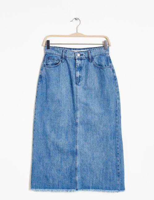 jupe longue en jean bleu clair
